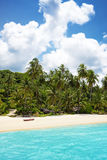 Palm trees in tropical perfect beach. At Koh Kood , Thailand Royalty Free Stock Photography