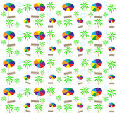 Palm trees, umbrellas seamless pattern. Vector Royalty Free Stock Image