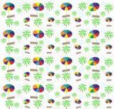Palm trees, umbrellas seamless pattern. Vector. Illustration Royalty Free Stock Image