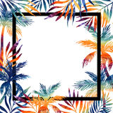 Palm trees watercolor frame Stock Photos
