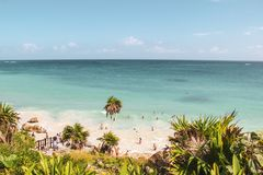 Tulum Beach in Tulum ruins, Mexico. Palm trees and white sandy beach with turquoise water in Tulum Beach in Tulum ruins, Mexico stock images