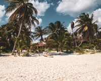 Tulum Beach in Tulum ruins, Mexico royalty free stock images