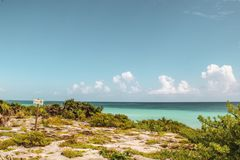 Tulum Beach in Tulum ruins, Mexico royalty free stock photography