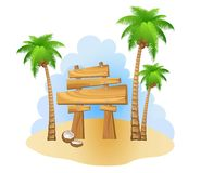Palm trees and wooden sign Royalty Free Stock Photos
