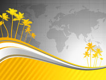 Palm trees on world map background Royalty Free Stock Photography