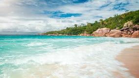 Palm and tropical beach panorama. Anse Lazio beach at Praslin island, Seychelles stock image