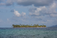 Palm Tropical Island San Blas Lsland Panama. A small palm tree island rests in the calm, sunny aqua water of the San Blas archipelego, where native Kuna Indians stock image