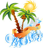Palm. Zon. Overzees. stock illustratie