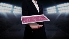 Palma aberta da mulher de negócios, basquetebol de giro, corte ilustração do vetor