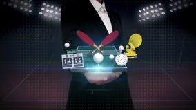 Palma aberta da mulher de negócios, em torno do ícone do pong do sibilo, tabela do pong do sibilo, raquetes de tênis de mesa ilustração do vetor