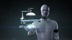 Palma aberta do cyborg do robô, cama médica da operação da clínica da cirurgia do hospital ilustração do vetor