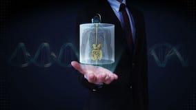 Palma aberta do homem de negócios, ser humano dianteiro zumbindo os órgãos internos, sistema da digestão Luz azul do raio X filme