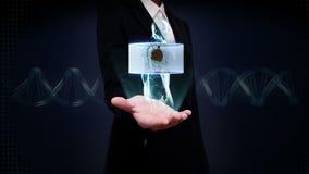 Palma abierta de la empresaria, cuerpo giratorio de enfoque y corazón de exploración Sistema cardiovascular humano, luz azul de l metrajes