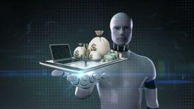 Palma abierta del cyborg del robot, actividades bancarias en línea, préstamo, deuda con el efectivo, dinero, cuentas en móvil Tab