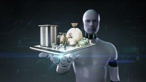 Palma abierta del cyborg del robot, edificio de la construcción con el efectivo, dinero, préstamo, deuda, finanzas en línea en mó stock de ilustración