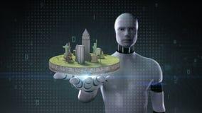 Palma abierta del cyborg del robot, icono del viaje de los cambios de la tierra, un punto famoso de la vista cámara, equipaje ilustración del vector