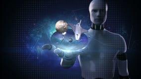 Palma abierta del cyborg del robot, laboratorio de ciencias espaciales, planeta, astronomía ilustración del vector