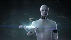 Palma abierta del cyborg del robot, satélite, tecnología de comunicación de espacio stock de ilustración