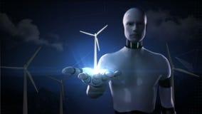Palma abierta del cyborg del robot, turbina de viento en el fondo blanco Energía de Eco alfa incluida libre illustration