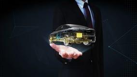 Palma abierta del hombre de negocios, coche giratorio Tecnología del automóvil Sistema del eje impulsor, motor, asiento interior  libre illustration