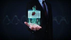 Palma abierta del hombre de negocios, cuerpo delantero de enfoque y corazón de exploración Sistema cardiovascular humano, luz azu stock de ilustración