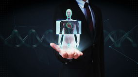Palma abierta del hombre de negocios, cuerpo femenino delantero de enfoque y corazón de exploración Sistema cardiovascular humano almacen de metraje de vídeo
