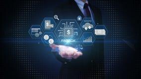 Palma abierta del hombre de negocios, icono financiero del ejemplo de la tecnología y diverso gráfico stock de ilustración