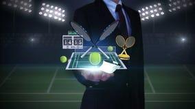 Palma abierta del hombre de negocios, icono flotante del tenis, estafa, bola, campo de tenis ilustración del vector