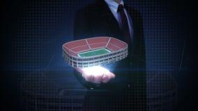 Palma abierta del hombre de negocios, Juegos Olímpicos de apertura, competencia en el estadio 1 almacen de metraje de vídeo
