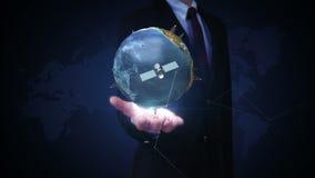 Palma abierta del hombre de negocios, tierra giratoria, tecnología de comunicación, mapa del mundo de la red ilustración del vector