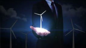 Palma abierta del hombre de negocios, turbina de viento Energía de Eco presentación (alfa incluida) stock de ilustración