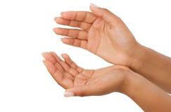 Palma afro-americana da mão dois, handbreadth isolado em um fundo branco imagens de stock royalty free