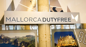 PALMA AIRPORT, MALLORCA - 1 AUGUST 2015. Airport sign for Mallor. Internal airport sign for Duty Free Shopping Shop royalty free stock image