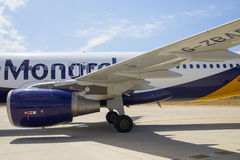 PALMA AIRPORT, MALLORCA - 1 AUGUST 2015. Monarch Arlines Airbus. Close up of an Airbus A320 at airport stand royalty free stock images