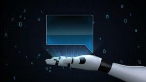 Palma aperta del cyborg del robot, casella di testo quadrata della bolla sulla palma royalty illustrazione gratis