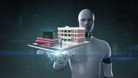 Palma aperta del cyborg del robot, edificio scolastico della costruzione con i prestiti dello studente, fatture, debito per istru illustrazione di stock