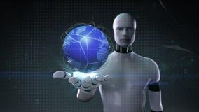 Palma aperta del cyborg del robot, rete globale crescente, comunicazione, intelligenza artificiale royalty illustrazione gratis
