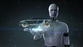 Palma aperta del cyborg del robot, tecnologia dell'automobile Sistema dell'albero motore, motore, sedile interno Vista laterale d illustrazione vettoriale