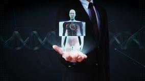 Palma aperta dell'uomo d'affari, corpo femminile anteriore di zumata e cuore d'esplorazione Sistema cardiovascolare umano Luce bl video d archivio
