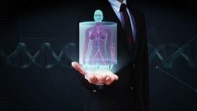Palma aperta dell'uomo d'affari, corpo femminile anteriore di zumata e sistema umano d'esplorazione del vaso sanguigno Luce blu d archivi video