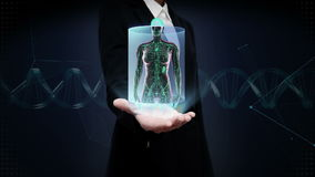 Palma aperta della donna di affari, corpo umano femminile che esplora sistema linfatico Luce blu dei raggi x stock footage