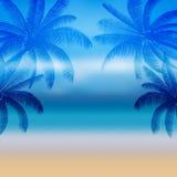 Palma astratta della siluetta nella progettazione piana dell'icona ed il mare a mezzogiorno Immagine Stock Libera da Diritti