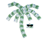 Palma built of 100 euro bills and sunglasses Royalty Free Stock Images