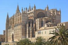 Palma Cathedral City Walls Majorca Spain. Cathedral of la Seu Majorca in Palma de Mallorca Balearic islands Spain Stock Photography