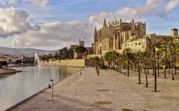 Palma cathedral, lake and fountain, beautiful blue sky with clouds, palm trees, mallorca, spain stock photography