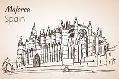 Palma Cathedral Le Seu bosquejo stock de ilustración