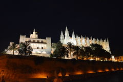 Palma Cathedral  at night Stock Photos