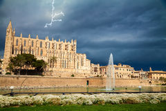 Palma Cathedral before the thunderstorm Royalty Free Stock Photography
