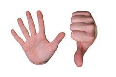 Palma com parada e polegar do símbolo para baixo Imagens de Stock