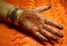 Palma com projeto do Henna Imagem de Stock Royalty Free